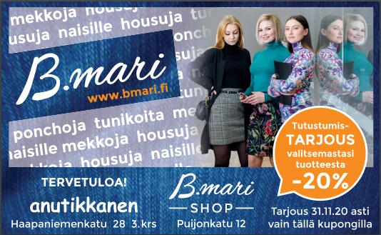 B.mari shop tarjous, -20% valitsemastasi tuotteesta 31.11.2020 asti.